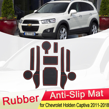 for Chevrolet Holden Captiva 2011~2018 Rubber Anti-slip Mat Door Groove Cup Phone Pad Gate Slot Coaster Accessories 2012 2013 anti slip mat for phone gate slot mats cup rubber pads rug for toyota rav4 2019 2020 xa50 rav 4 50 car stickers accessories