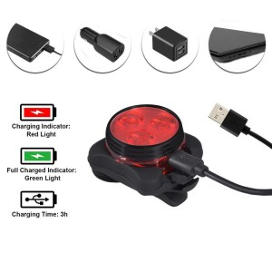 4Pcs bicycle light warning light red and white light set black shell with USB rechargeable tail clip light bicycle bicycle S8*