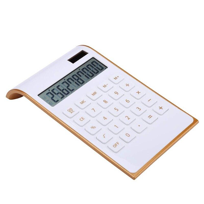 Calculator, Slim Elegant Design, Office/Home Electronics, Dual Powered Desktop Calculator, Solar Power, 10 Digits, Tilted LCD Di