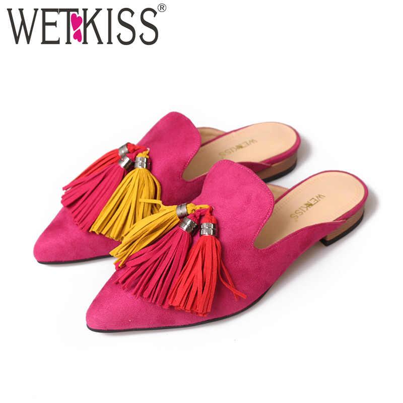 WETKISS gümrükleme yaz sıcak satış kadınlar Flats perçin düşük topuklu katır ayakkabı sivri burun üzerinde kayma slaytlar rahat çivili ayakkabı 2020
