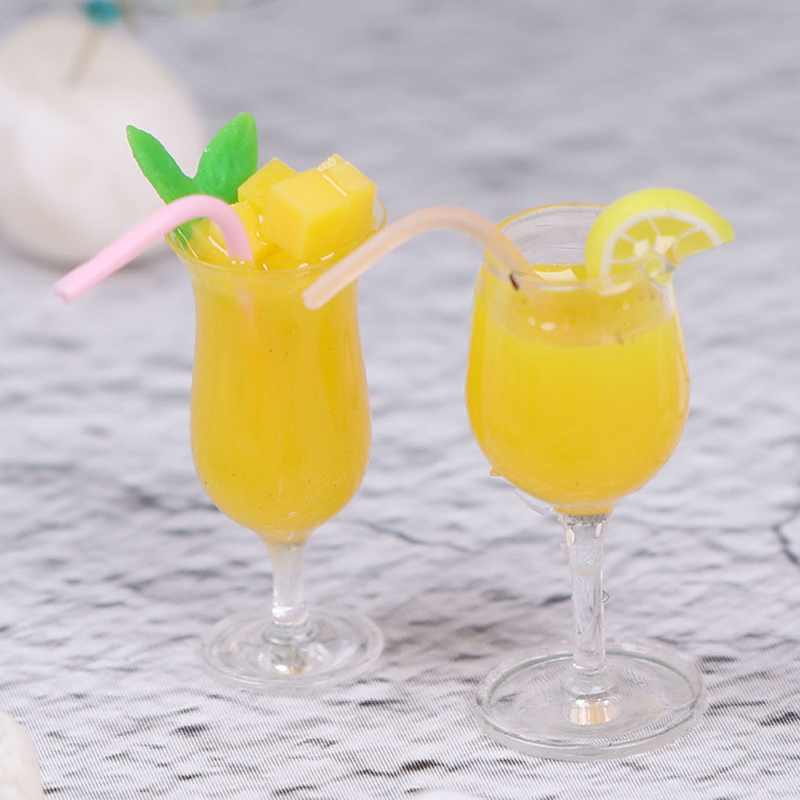 Simulation Lemon Ade Cup Drink Pearl Milk Tea Model Toy 1/12 Dollhouse Ature Accessories Decoration Mini Lemon Water Cup