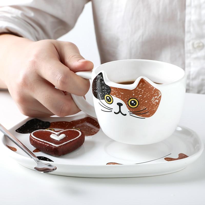 Creative Novelty Cute Cat Ceramic Mug & Tray | Moon Discount