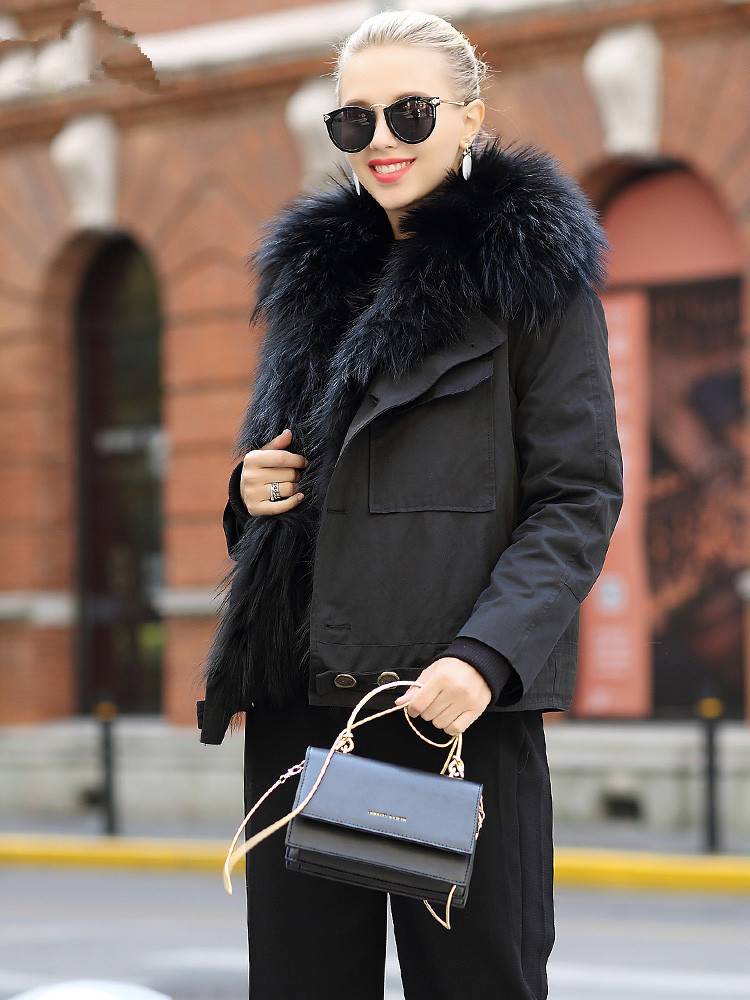 Fur Real 2020 Coat Female Real Raccoon Fur Collar Down Jacket Winter Jacket Women Warm Parka Women Korean Jackets MY4005 S