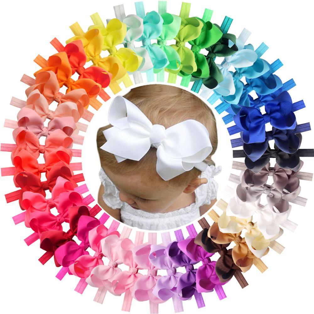 40 Pcs Colors 4.5 Inches Grosgrain Ribbon Baby Girls Hair Bows Headbands For Infants Newborn And Toddlers