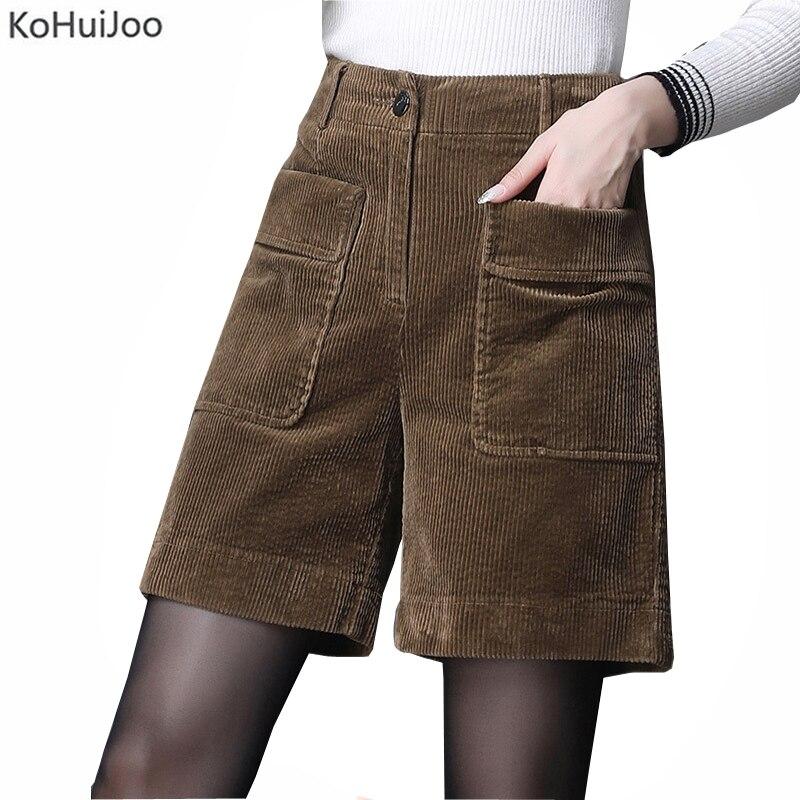 KoHuiJoo Women Corduroy Shorts Autumn Winter Pockets Casual Cotton Wide Leg Shorts Female Plus Size High Waist Shorts Khaki Blue