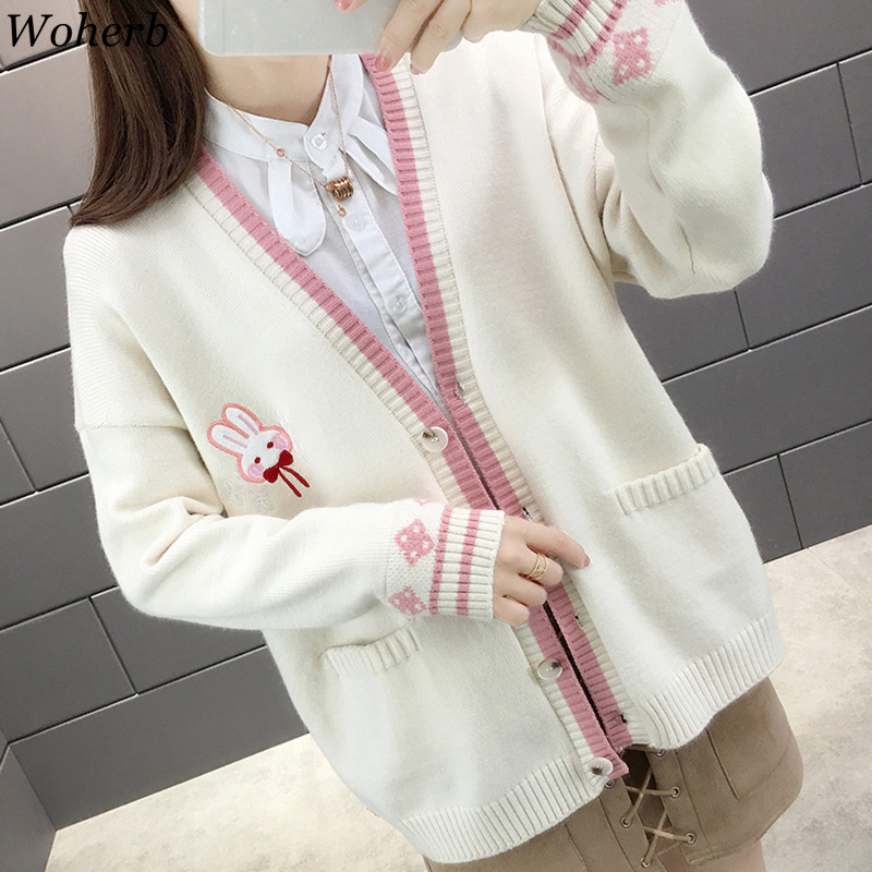 Woherb Kawaii Rabbit Embroidery Sweater Women Casual Cardigan 2020 Autumn Winter Cute Knitted Coat Korean Fashion Clothing