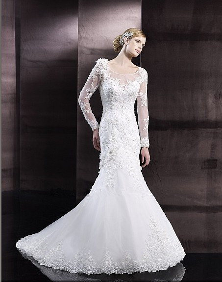 Lace Appliques Flowers Romantic Sheer Long Sleeves Crystals Pearls Buttons Loops Cascade Bridal Gown Mother Of The Bride Dresses