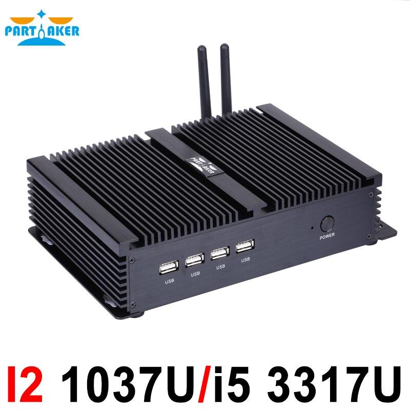 Fanless Mini PC Windows Linux Intel Core I5 3317U 1007U Dual Nics 4*RS232 COM Industrial PC Rugged Computer 300M Wifi HDMI+VGA