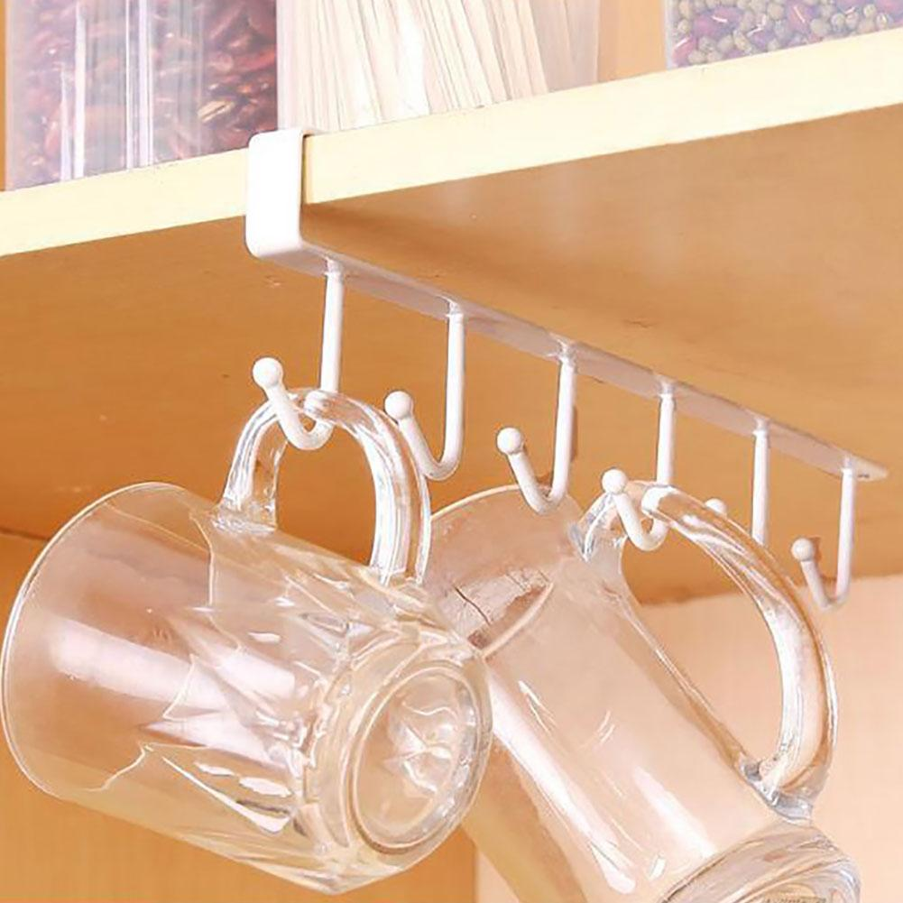 6 Hooks Kitchen Cupboard Cabinet Hanging Rack Pantry Metal Storage Hanger Organizer For Mug Utility Cookware Kitchen Racks