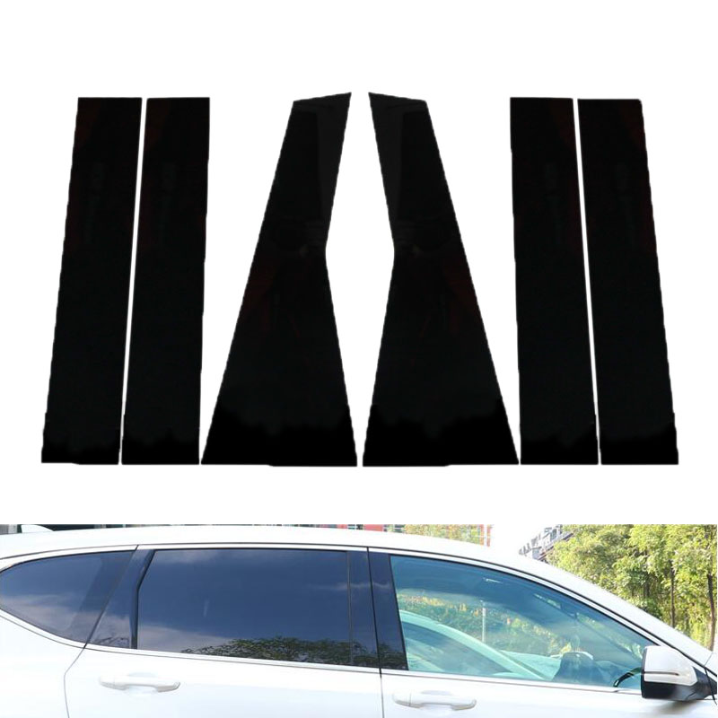 6Pcs Car Window Pillar Sticker Trim Glossy Black Car Column Sticker For Honda CRV CR-V 2012 - 2016