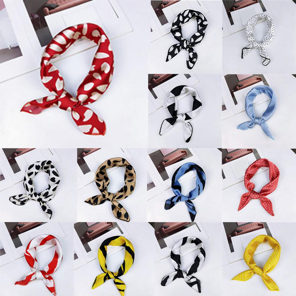 Square Scarf Hair Tie Band For Business Party Women Small Vintage Skinny Retro Head Neck Satin Polka Dot Leopard Silk Scarf Hot