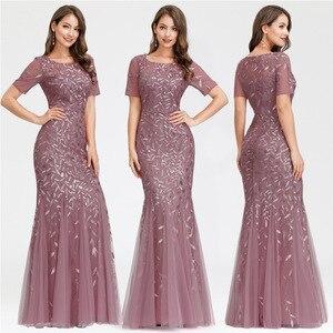 Image 4 - ערב שמלות בתוספת גודל ארוך המפלגה שמלות בת ים גבוהה צוואר רוכסן חזרה באורך רצפת שמלות נשף פאייטים ערב שמלות 2020