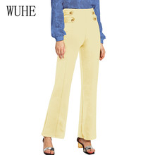 WUHE Vintage Button High Waist Women Casual Harem Long Pants Summer Office Lady Workwear Trousers Elastic Wide Leg