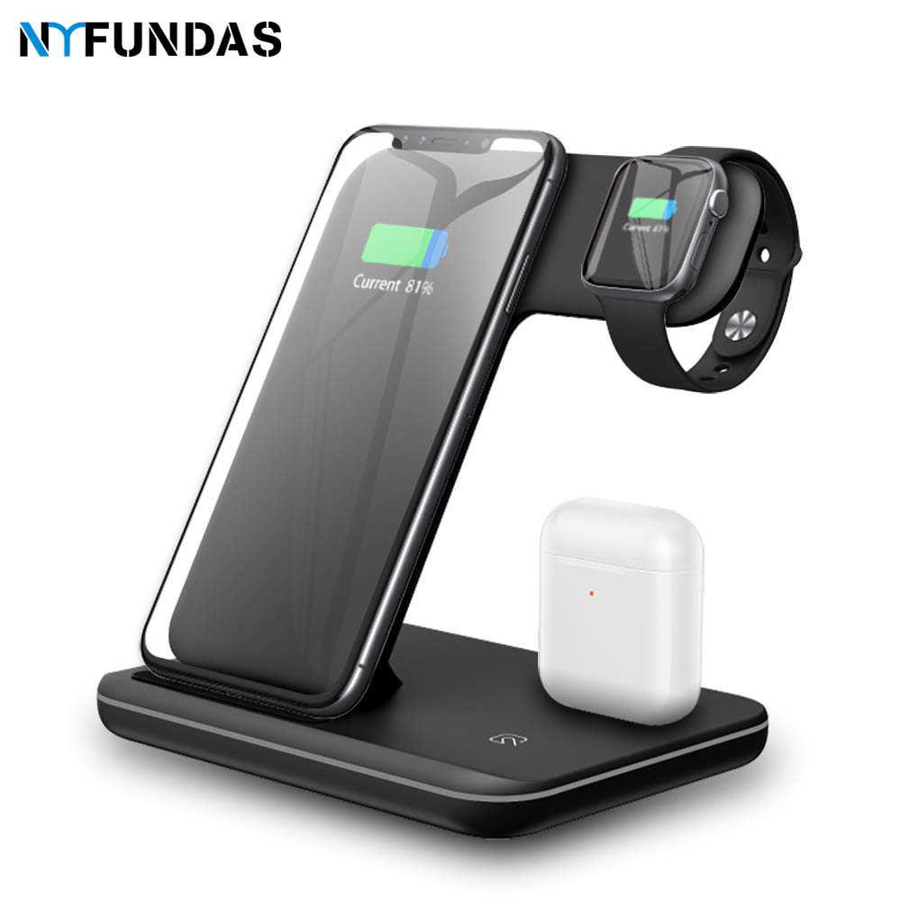 NYFundas 3 W 1 bezprzewodowy stacja ładująca 15W szybko stacja do ładowania stacji do zegarka Apple Watch Series 4 3 2 Airpods Iphone XS MAX XR 8