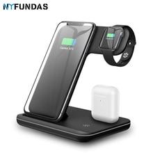 Suporte com carregador sem fio qi 15w, plataforma de carregamento rápido para apple watch 5 4 3 2 airpods pro iphone 11 pro max xs max xr,