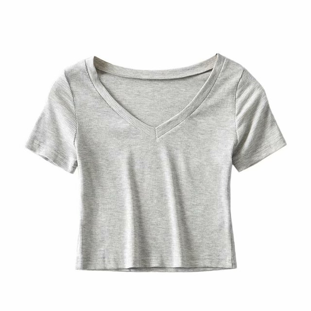 Bradely Michelle Casual Cotton New 2020 Summer Woman Slim Fit t-shirt tight Short-Sleeve V-neck tee Crop Tops 3