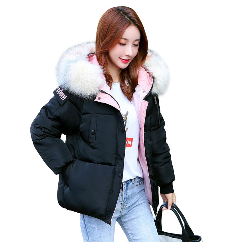 Chic Short Fur Coat Hooded Winter Down Coat Female Oversize Jacket Cotton Padded Wadded Parkas Wind Breaker Sleeves Big Pocket