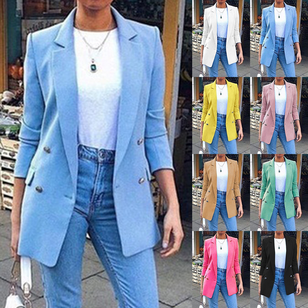 2020 New Womens Casual Slim Blazer Fashion Office Ladies Coats Mid-long Suit Jacket Solid Buttons Female Outerwear Long Sleeve