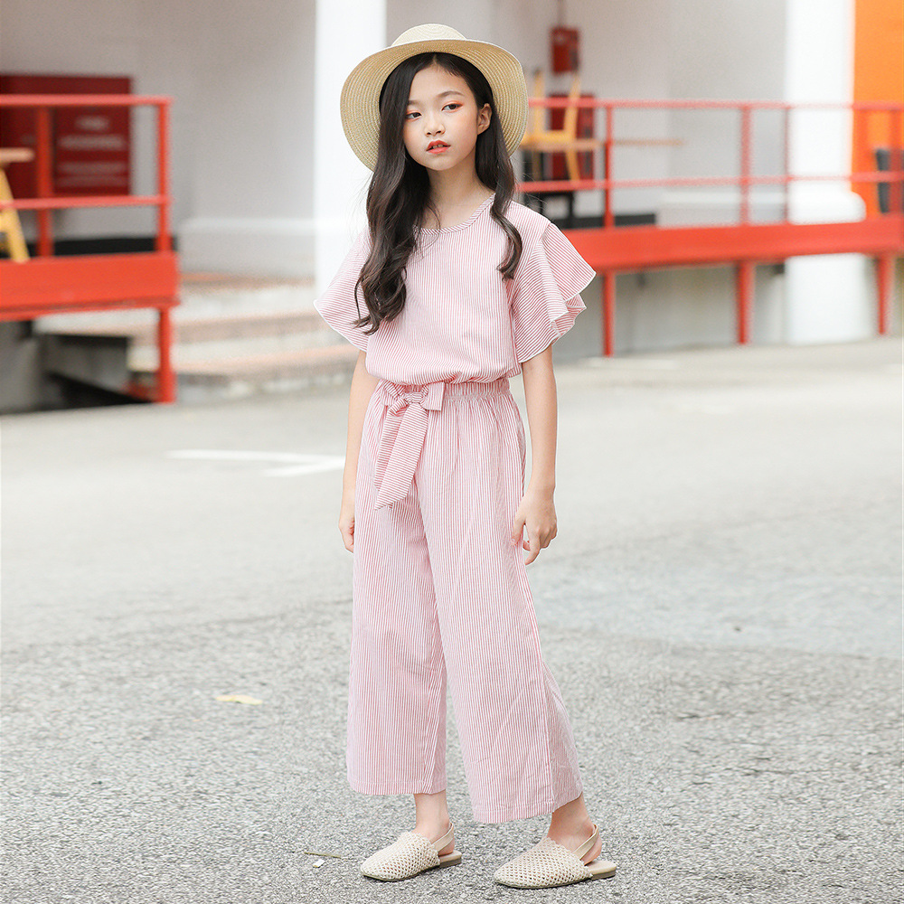Brand Famous Girl <font><b>Clothes</b></font> Sets Summer Ruffles Outfit Suits Kids Size 5 6 7 8 9 10 <font><b>11</b></font> 12 13 14 <font><b>Years</b></font> <font><b>Old</b></font> Children Clothing Set image