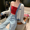 Jacket Women's fashion spring and summer short knitted cardigan blue and white stripe 2021 new loose Korean versatile trend 5