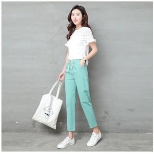Image 4 - Pantalon en lin pour Femme, sarouel, taille moyenne élastique, mode, noir, Pantalon crayon, de bureau, collection 2019