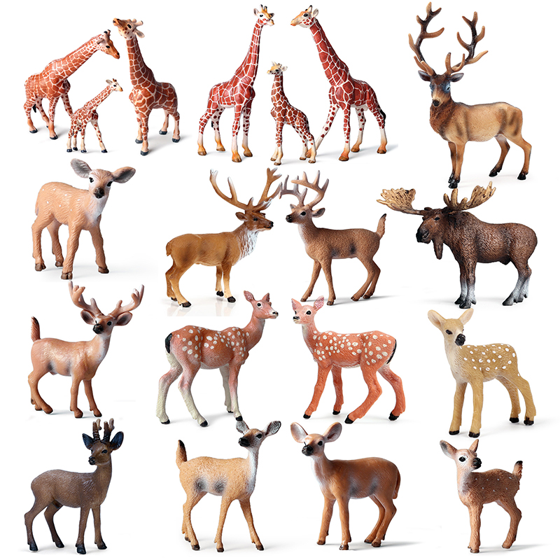 Wildlife Cervidae Animal Action&Toys Figure Deer Giraffe Sika Elk PVC Model Collectible Doll Figure Collection For Children Gift