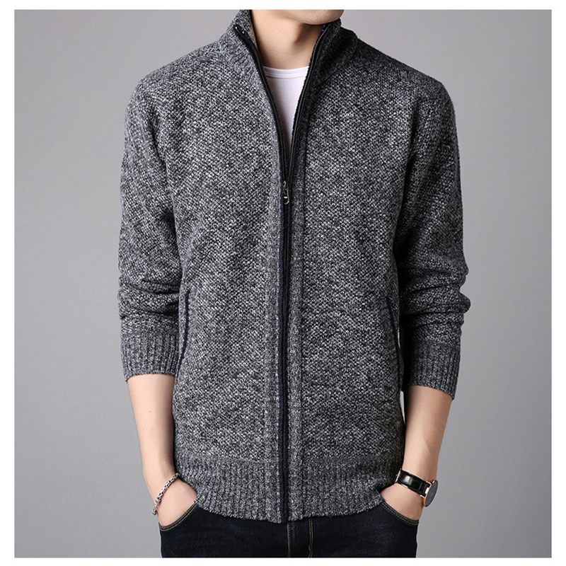 Winter Fleece Men Sweater Coat Full Zipper Long Sleeve Knitted Cardigan Autumn Warm Men Fashion Causal Clothing кардиган мужской