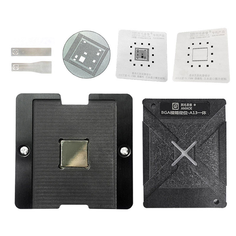 Amaoe A7 A8 A9 A10 A11 A12 A13 Magnetic BGA Reballing Platform Positioning Plate With 0.10mm Thickness Stencil For CPU Reballing