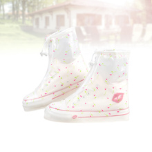Women PVC Low Cut Shoes Covers Women Thicken Wear Resistant Boots Protectors White Waterproof Flowers Overshoes for Camping Fish