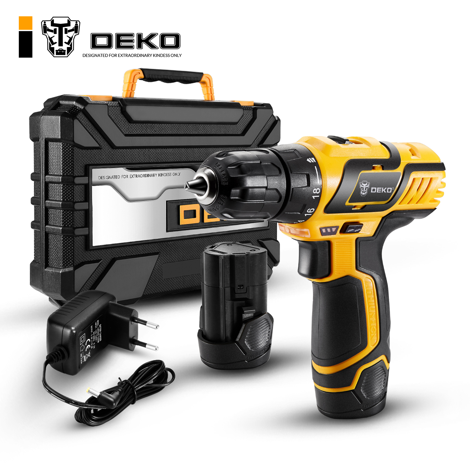 DEKO GCD10.8DU3 10.8-Volt Electric Screwdriver Cordless Drill Mini Wireless Power Driver DC Lithium-Ion Battery 10mm 2-Speed