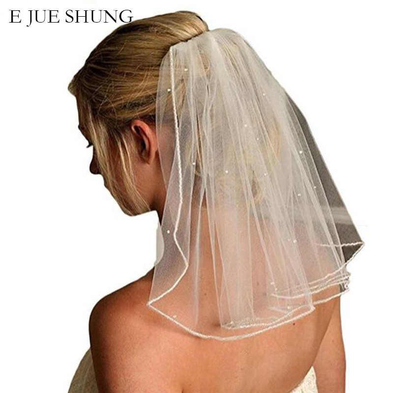 E JUE SHUNG Eine Schicht Kurze Hochzeit Schleier Mit Kamm Weichen Tüll Braut Schleier Mit Kamm Kristall Hochzeit Zubehör