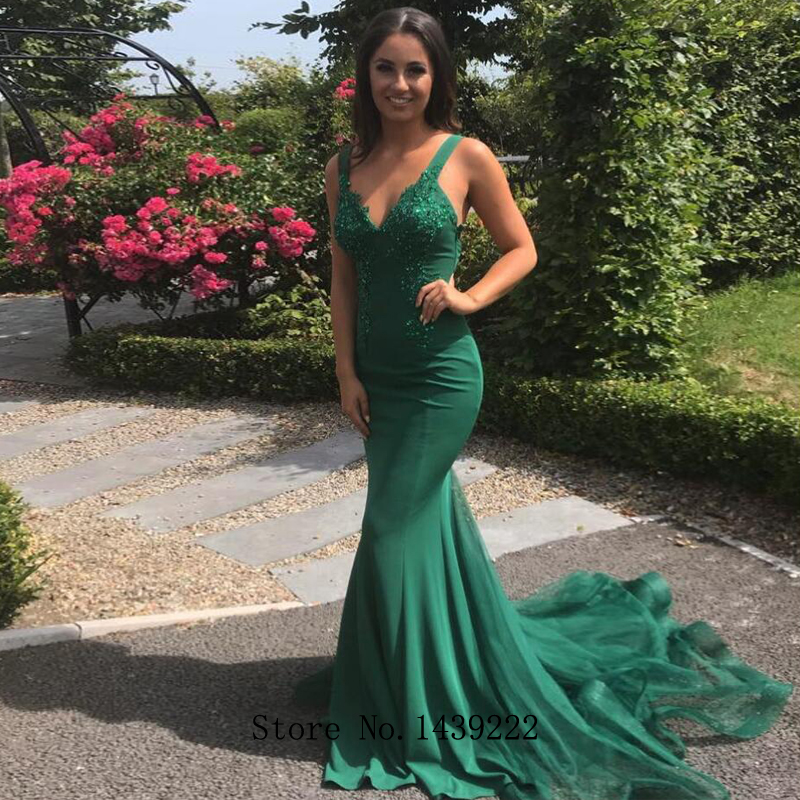 Green Spaghetti Mermaid Evening Dresses Prom V Neck Official Party Dress Cheap Vestidos De Fiesta De Noche Robe De Soiree Plus