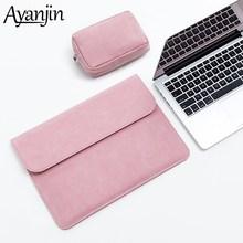 Ince deri Laptop çantası 13.3 deri kol 15.4 16 inç Xiaomi Macbook Air Case 11 12 Pro 15 için kapak HP Pavilion X360 13