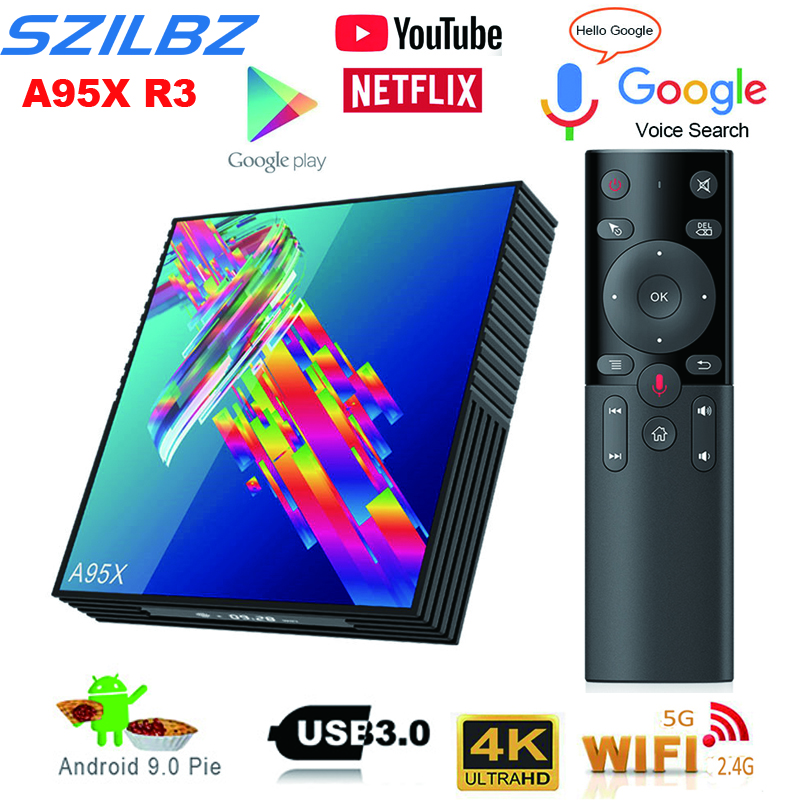 A95X R3 Smart TV BOX Android9.0 Box 4K RK3318 3D HDR 4GB 64GB Dual Wifi 2.4G&5.0  Bluetooth Google Player Home Media Player