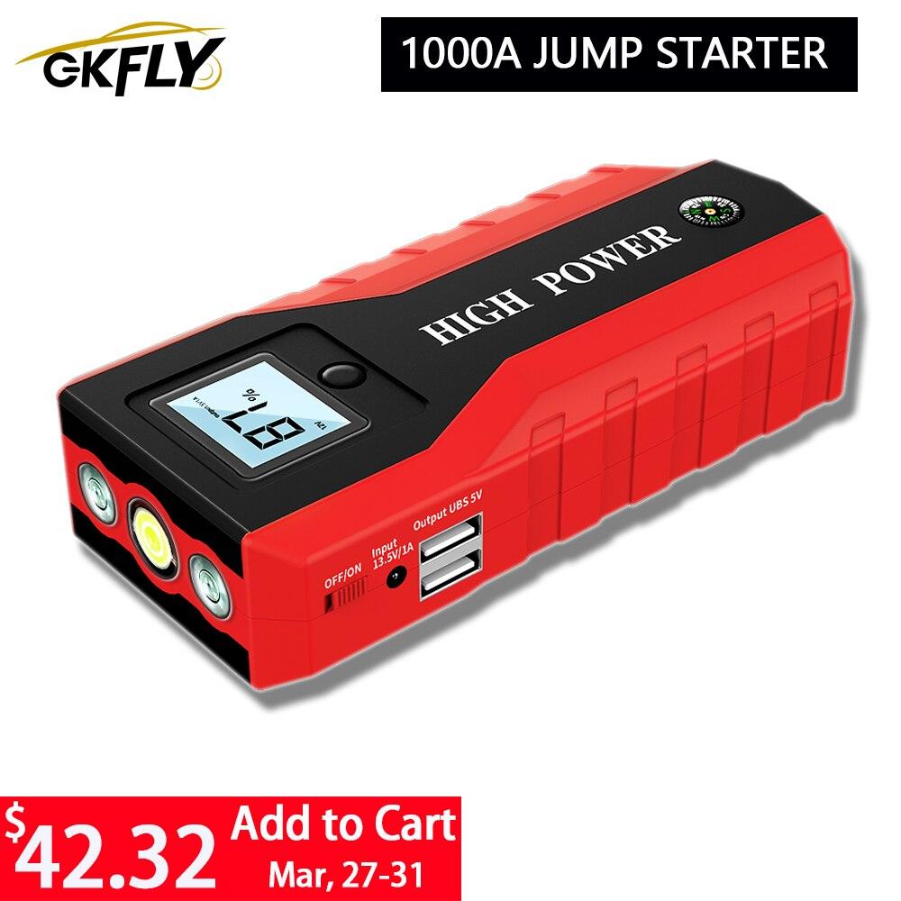 GKFLY высокое Мощность 1000A автомобиль скачок стартер 20000 мАч 12V пусковое устройство Мощность автомобиля банка Зарядное устройство для автомоб...