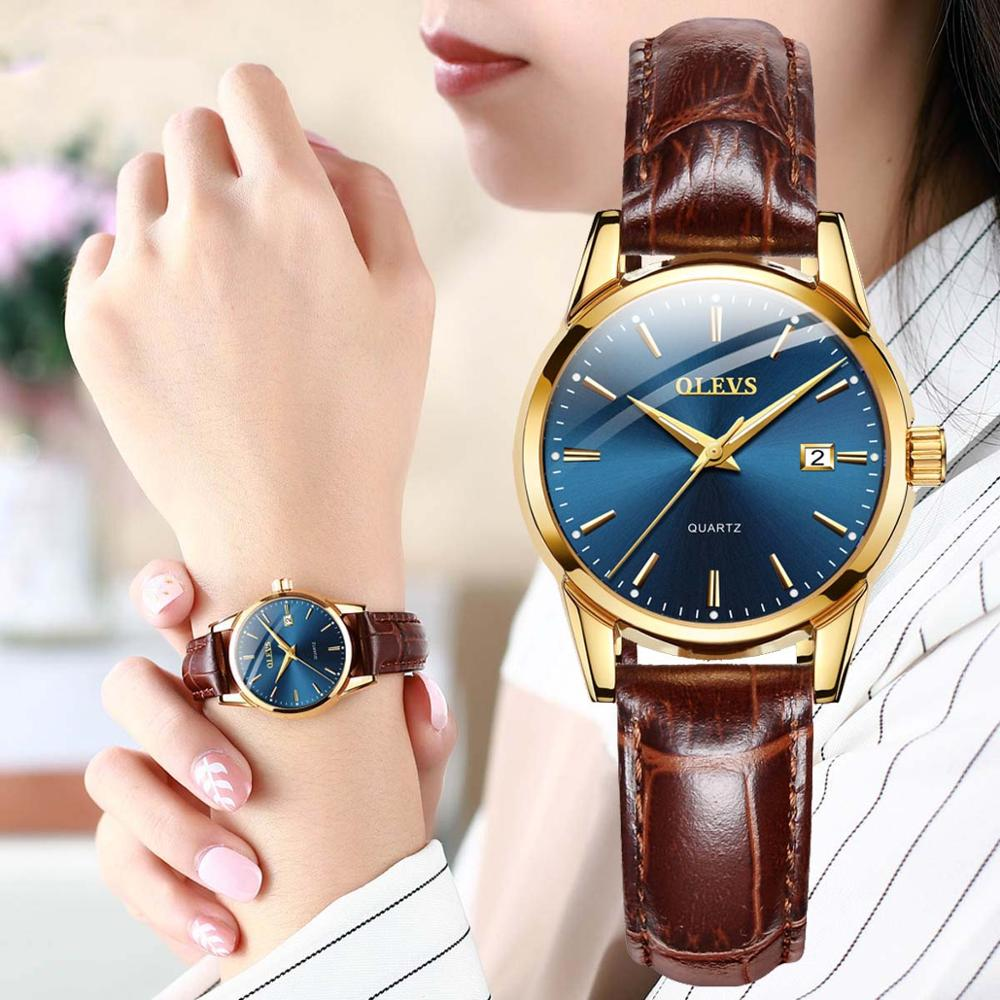 OLEVS Women Quartz Watch Leather Classic Dress Fashion Simple 3ATM Hardlex Glass Waterproof Round Dial Lady WristWatch