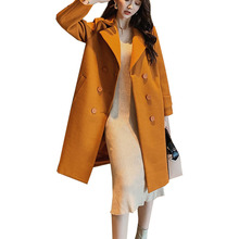 Fashion New Autumn Winter Women Coats Leisure Yellow Red Blue Slim Long Lapel Button Wool Blends Coat Blend Top Jackets
