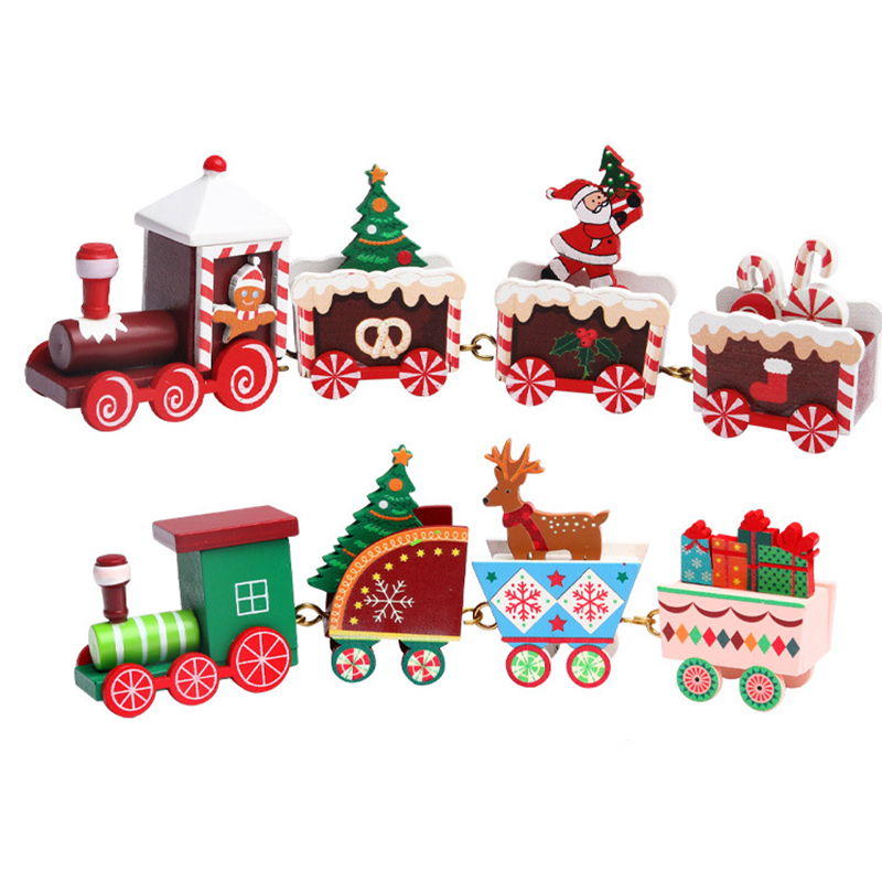 4pcs Mini Christmas Decoration Wooden Train Toy Home Decor Christmas Gift Kids Baby Toys Vehicles Children  Wooden Train Xmas