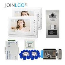"""7 """"Lcd scherm Video Home Intercom Deurtelefoon Systeem 2 Wit Monitoren Rfid Access Deur Camera Voor 2 / 3 Huishoudelijke Appartement"""