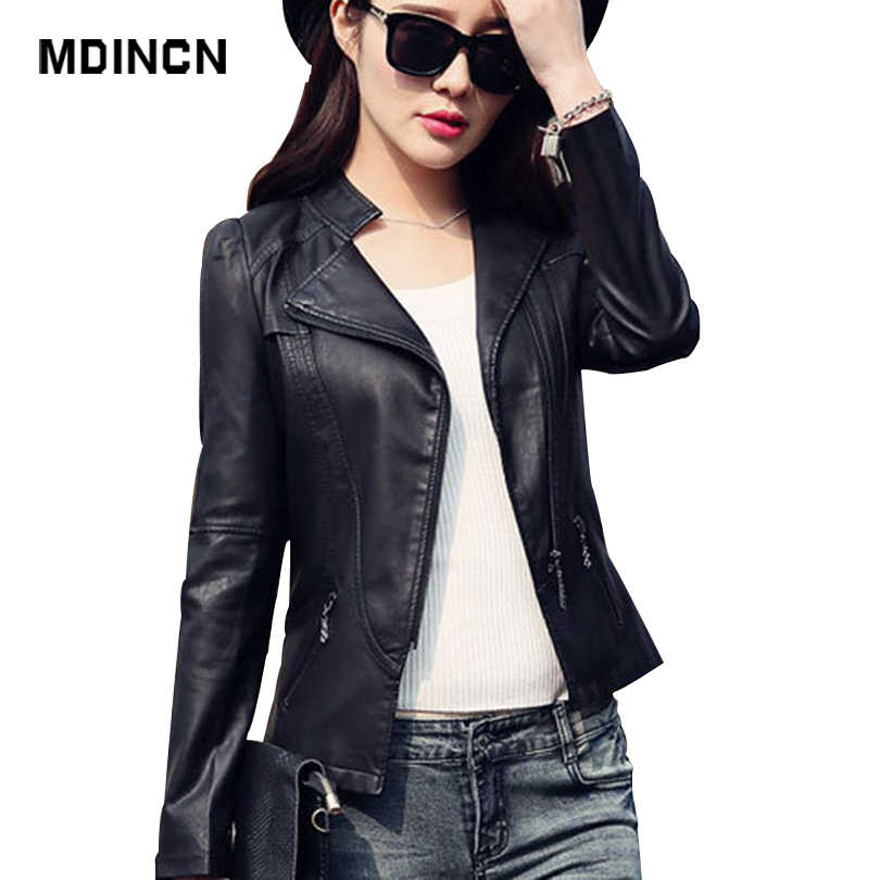 MDINCN 2020 Silm Women jacket Spring And Autumn Black Faux Leather Jackets Zipper Basic Coat Turn-down Collar Biker Jacket