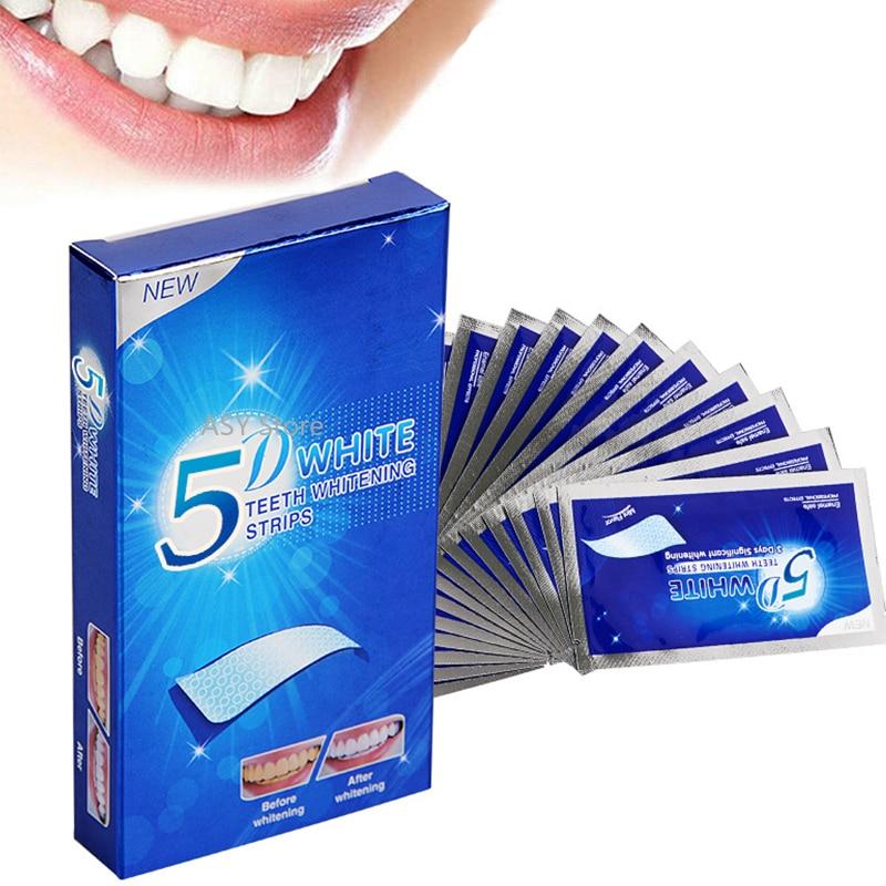 Tiras blanqueadoras de dientes de Gel 5D, kit Dental de higiene Oral, tiras de cuidado facial para dentadura postiza, venecillas de dentista, gel blanqueador