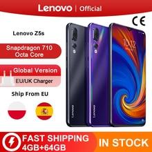 Versão global lenovo z5s snapdragon 710 octa núcleo 64gb smartphone face id 6.3 ai triplo câmera traseira android p celular
