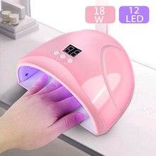 18W suszarka do paznokci lampa UV LED do paznokci lampa 18 Leds lampa MINI USB do Manicure wyświetlacz LCD inteligentny czujnik suszenie wszystkich żeli lakier do paznokci