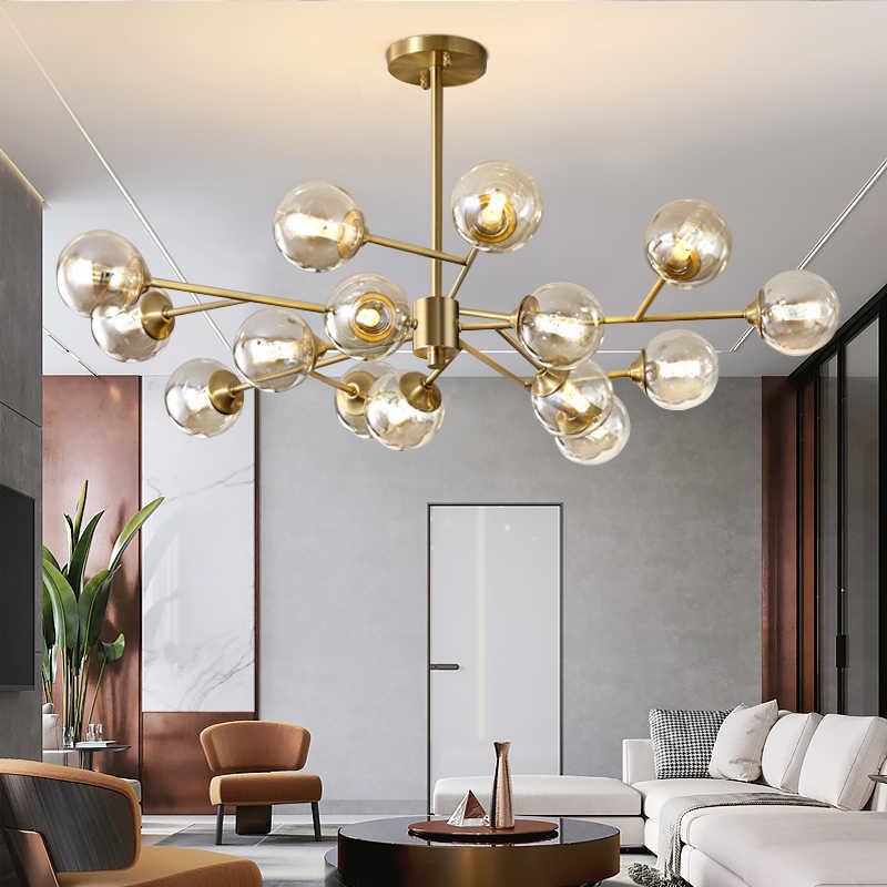 Modern Sputnik avize aydınlatma yaratıcı cam küre şube aydınlatma armatürü Bedrpom İskandinav oturma odası asılı ışıklar