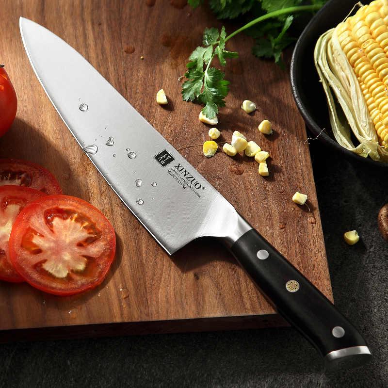 XINZUO 8.5 ''นิ้วมีดเชฟสูงคาร์บอน DIN 1.4116 หั่นสแตนเลสห้องครัวเยอรมัน KnivesMeat เครื่องมือ Ebony Handle