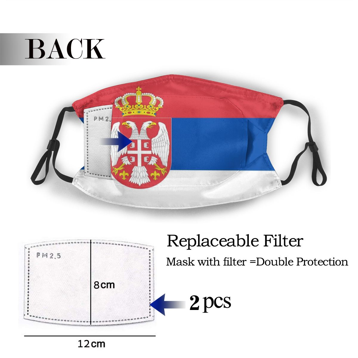 Protective Mask With Filter Serbia Flag Anti Dust PM2.5 Reuse Adult Teen Child Girl