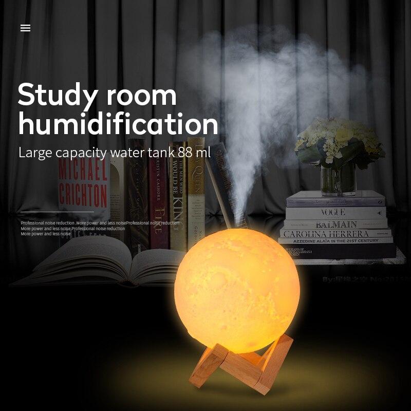 880ml Ultrasonic Aroma Umidificador de Ar USB Com 3D Lua luz Da Lâmpada Aroma de Óleo Essencial Difusor Névoa de ar para o Quarto mesa