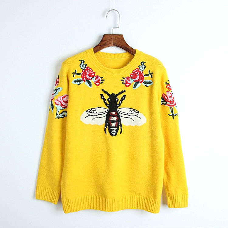 Sweater Jumper Embroidery Bee-Jacquard Wool Long-Sleeve Floral Casual Fashion Women Round-Collar