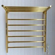Нержавеющая сталь Золотой Электрический Полотенцесушитель матовый черный полотенцесушитель аксессуары для ванной комнаты сушилка для одежды TW-RD15