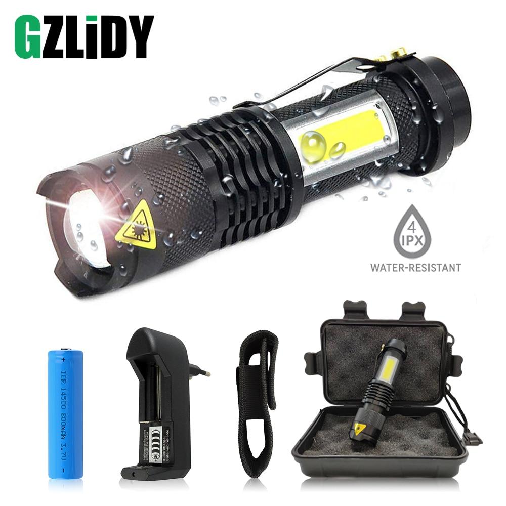 Portable LED Flashlight Q5 +COB Mini Black Waterproof Zoom LED Torch Penlight Use AA Or 14500 Battery Lighting Lantern